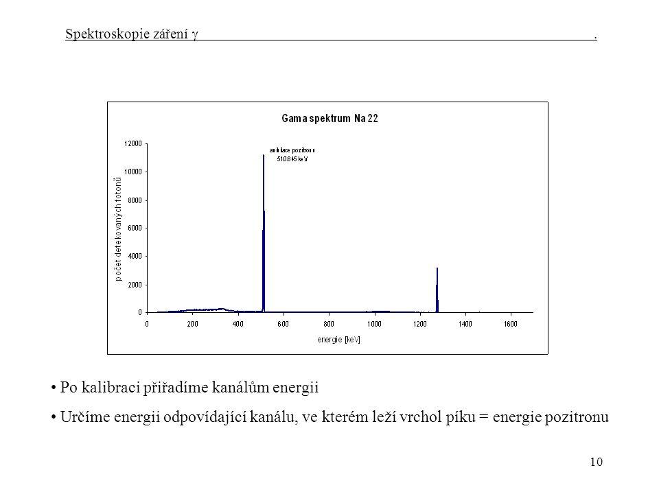 10 Spektroskopie záření  Po kalibraci přiřadíme kanálům energii Určíme energii odpovídající kanálu, ve kterém leží vrchol píku = energie pozitronu