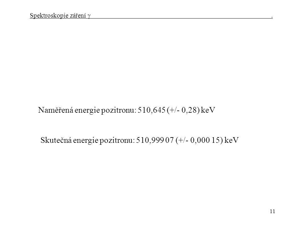 11 Naměřená energie pozitronu: 510,645 (+/- 0,28) keV Skutečná energie pozitronu: 510,999 07 (+/- 0,000 15) keV Spektroskopie záření 