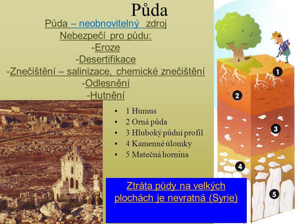 Půda 1 Humus 2 Orná půda 3 Hluboký půdní profil 4 Kamenné úlomky 5 Matečná hornina Půda – neobnovitelný zdroj Nebezpečí pro půdu: -Eroze -Desertifikac