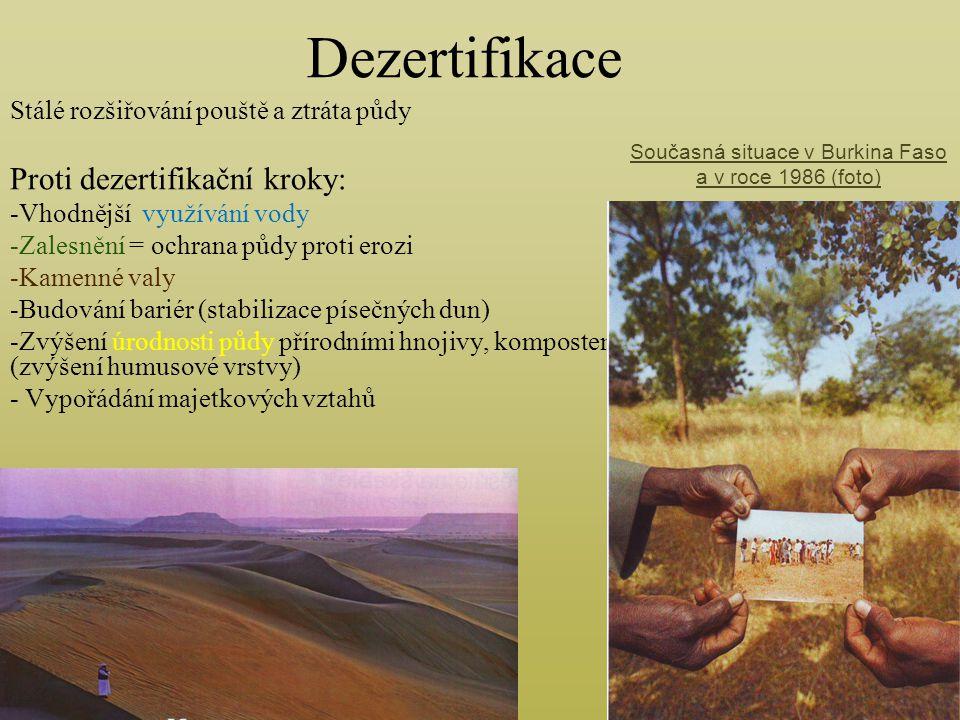 Dezertifikace Stálé rozšiřování pouště a ztráta půdy Proti dezertifikační kroky: -Vhodnější využívání vody -Zalesnění = ochrana půdy proti erozi -Kame