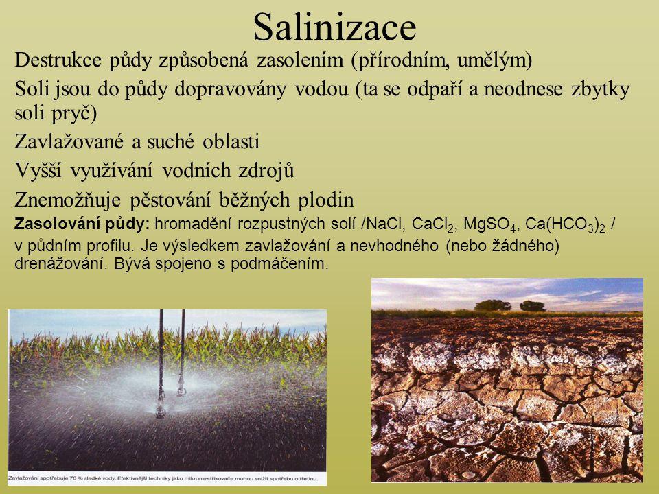 Salinizace Destrukce půdy způsobená zasolením (přírodním, umělým) Soli jsou do půdy dopravovány vodou (ta se odpaří a neodnese zbytky soli pryč) Zavla