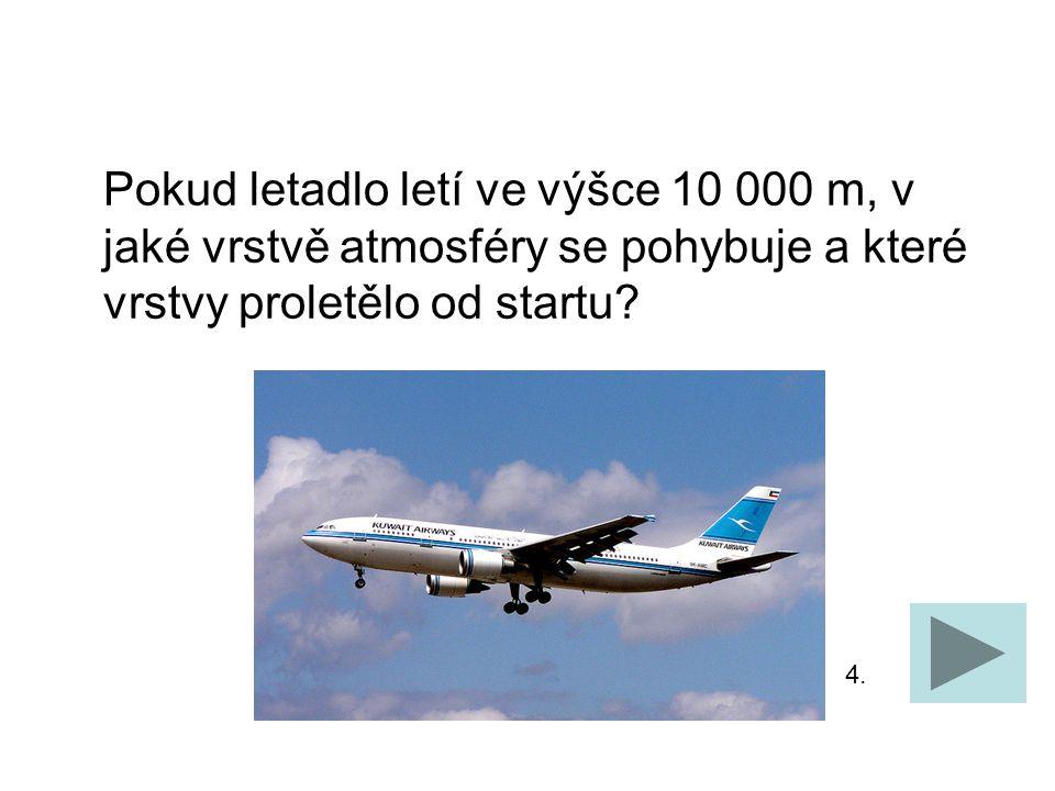 Pokud letadlo letí ve výšce 10 000 m, v jaké vrstvě atmosféry se pohybuje a které vrstvy proletělo od startu.