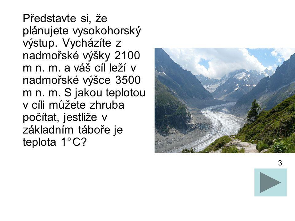Představte si, že plánujete vysokohorský výstup. Vycházíte z nadmořské výšky 2100 m n.