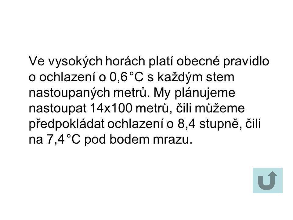 Ve vysokých horách platí obecné pravidlo o ochlazení o 0,6 °C s každým stem nastoupaných metrů.