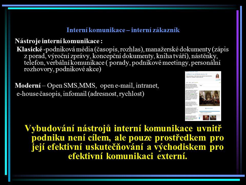Interní komunikace – interní zákazník Nástroje interní komunikace : Klasické -podniková média (časopis, rozhlas), manažerské dokumenty (zápis z porad,