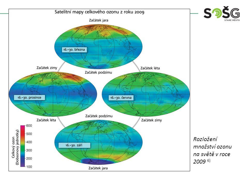 Rozložení množství ozonu na světě v roce 2009 6)