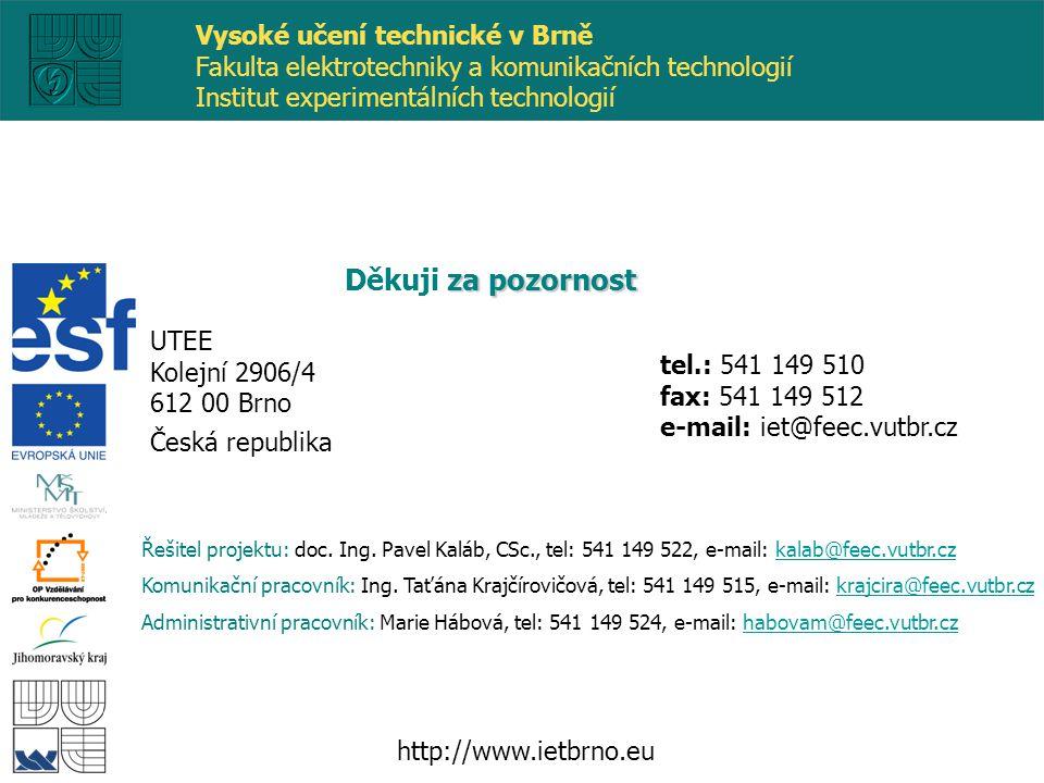 tel.: 541 149 510 fax: 541 149 512 e-mail: iet@feec.vutbr.cz za pozornost Děkuji za pozornost http://www.ietbrno.eu UTEE Kolejní 2906/4 612 00 Brno Česká republika Řešitel projektu: doc.