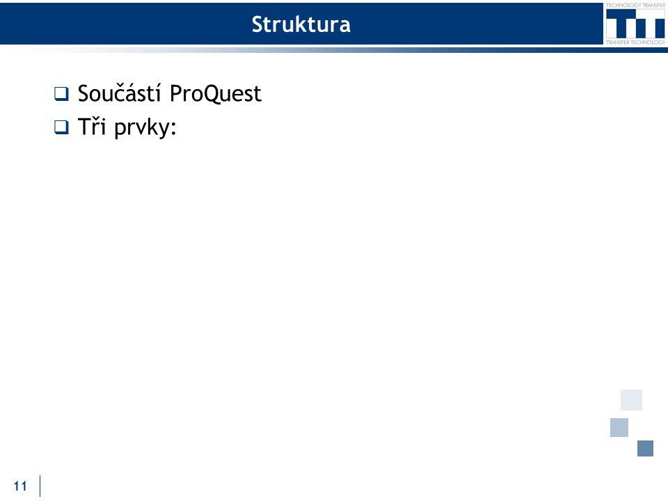 Struktura  Součástí ProQuest  Tři prvky: 11