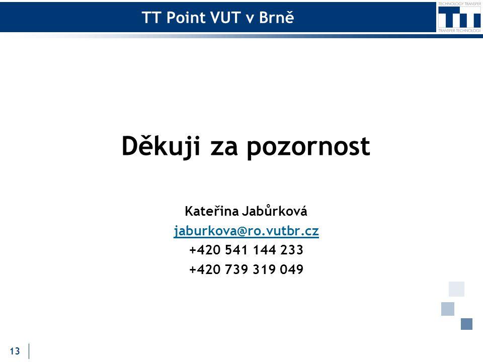 TT Point VUT v Brně Děkuji za pozornost Kateřina Jabůrková jaburkova@ro.vutbr.cz +420 541 144 233 +420 739 319 049 13