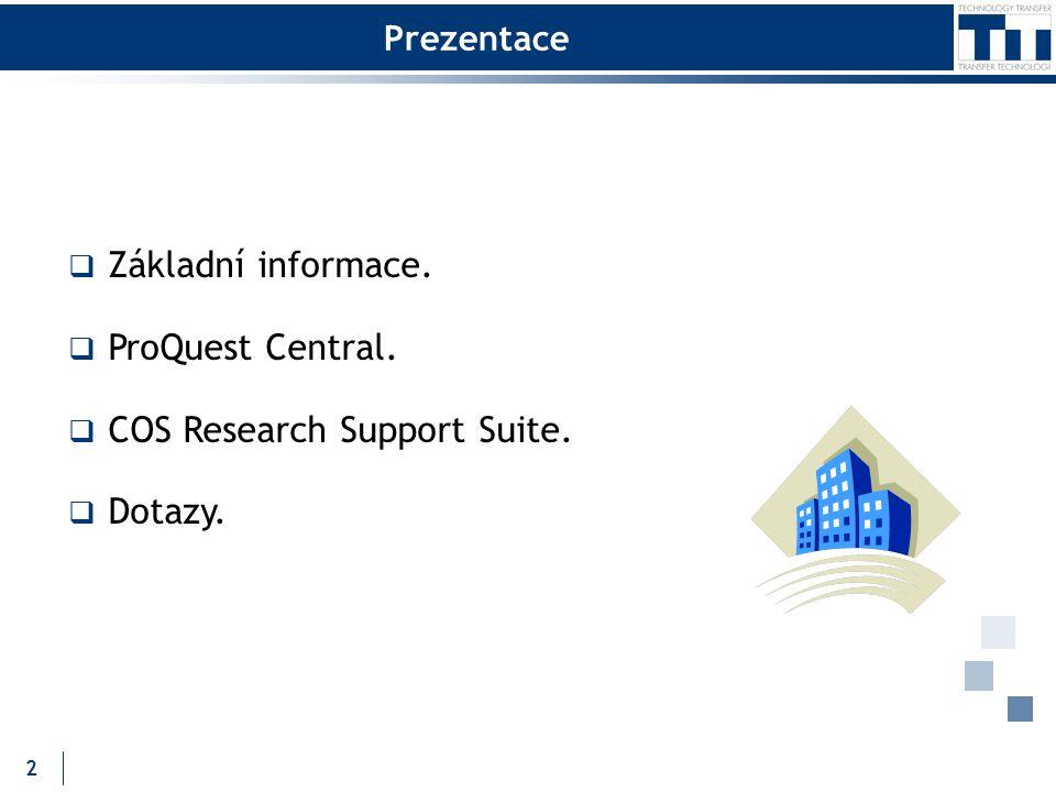 Prezentace  Základní informace.  ProQuest Central.  COS Research Support Suite.  Dotazy. 2