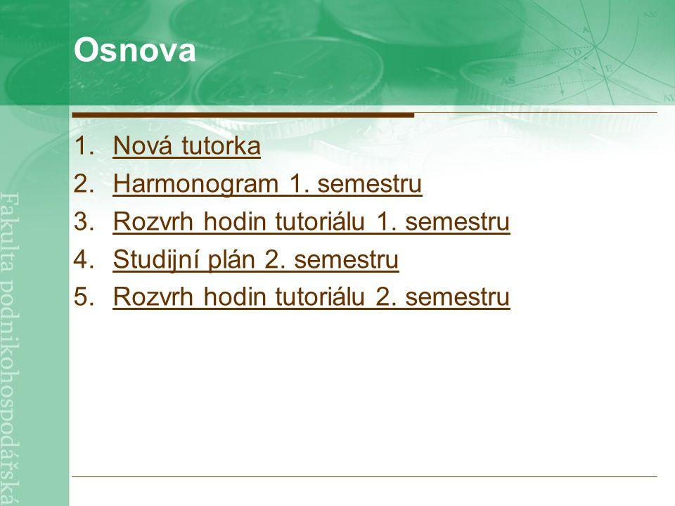 Osnova 1.Nová tutorkaNová tutorka 2.Harmonogram 1. semestruHarmonogram 1. semestru 3.Rozvrh hodin tutoriálu 1. semestruRozvrh hodin tutoriálu 1. semes