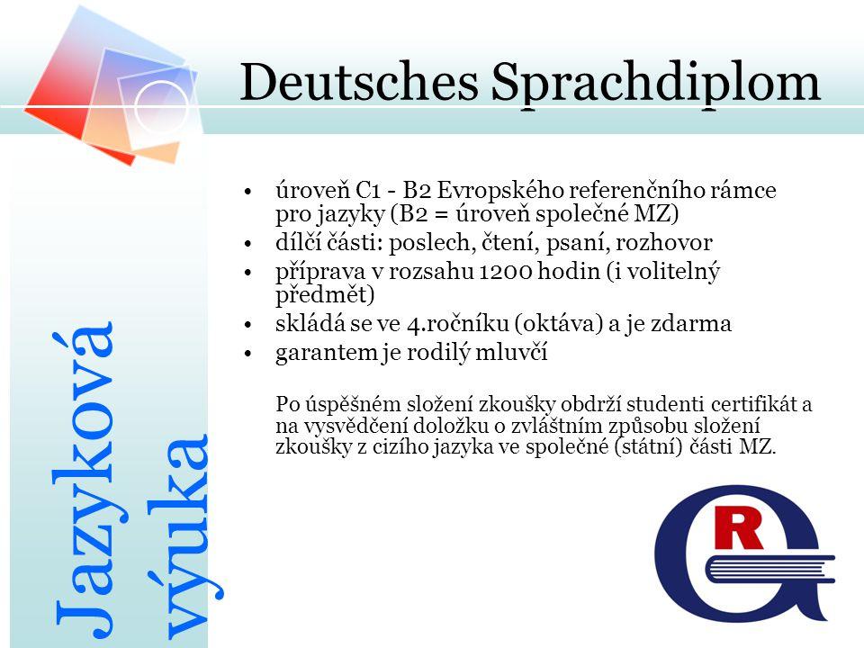 Deutsches Sprachdiplom úroveň C1 - B2 Evropského referenčního rámce pro jazyky (B2 = úroveň společné MZ) dílčí části: poslech, čtení, psaní, rozhovor