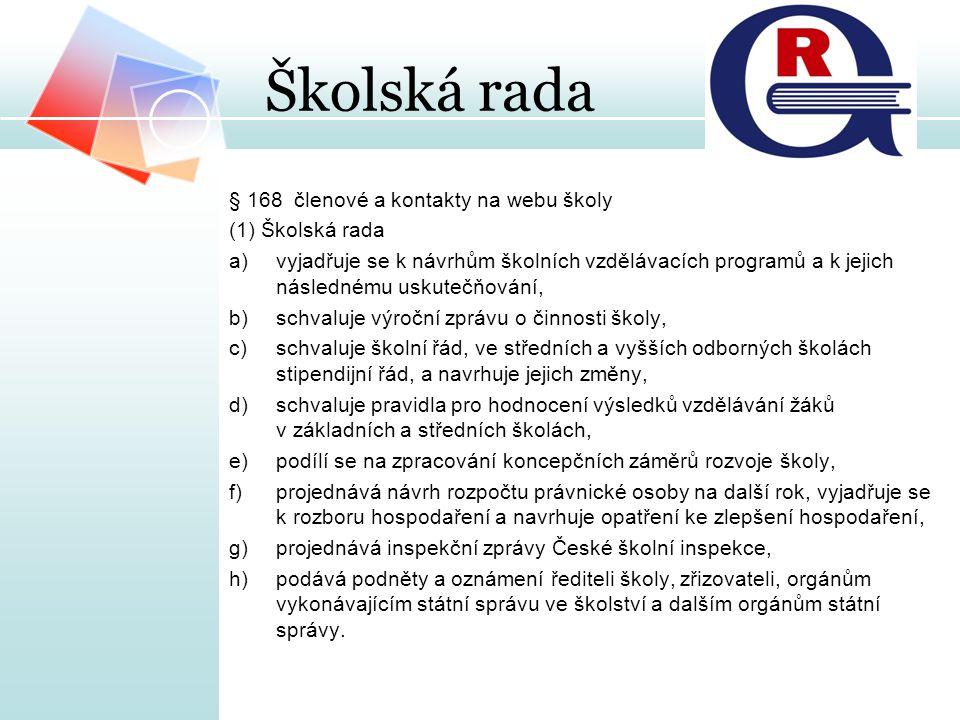 Školská rada § 168 členové a kontakty na webu školy (1) Školská rada a)vyjadřuje se k návrhům školních vzdělávacích programů a k jejich následnému usk