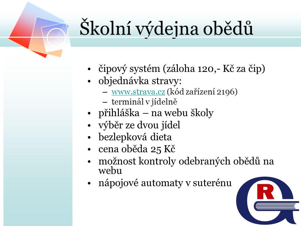 Školní výdejna obědů čipový systém (záloha 120,- Kč za čip) objednávka stravy: –www.strava.cz (kód zařízení 2196)www.strava.cz –terminál v jídelně při