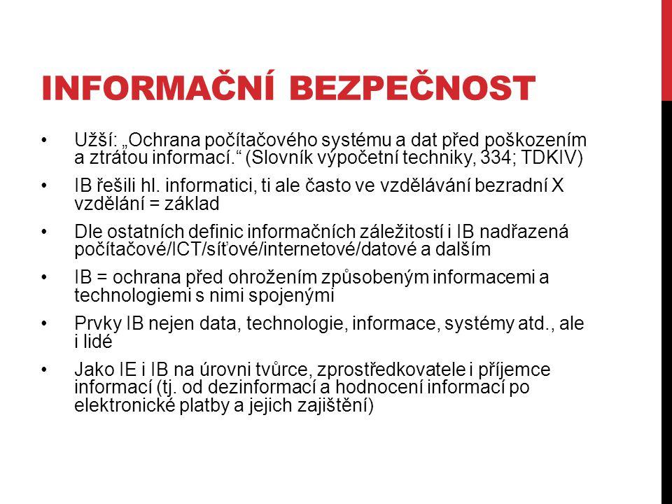 """INFORMAČNÍ BEZPEČNOST Užší: """"Ochrana počítačového systému a dat před poškozením a ztrátou informací. (Slovník výpočetní techniky, 334; TDKIV) IB řešili hl."""
