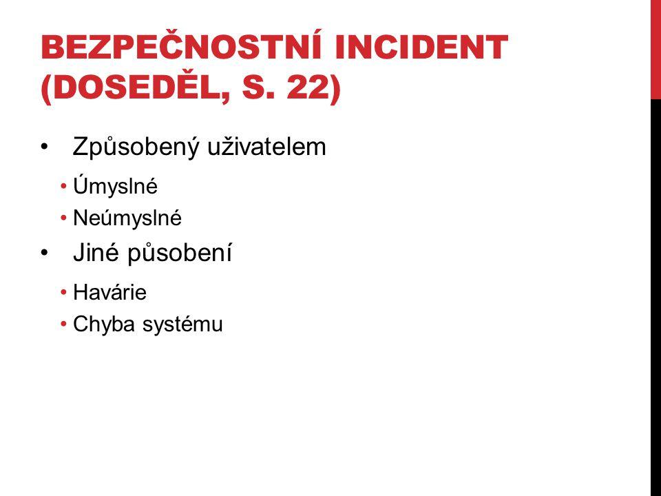 BEZPEČNOSTNÍ INCIDENT (DOSEDĚL, S.