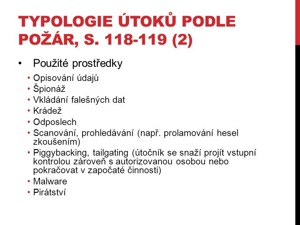 TYPOLOGIE ÚTOKŮ PODLE POŽÁR, S.