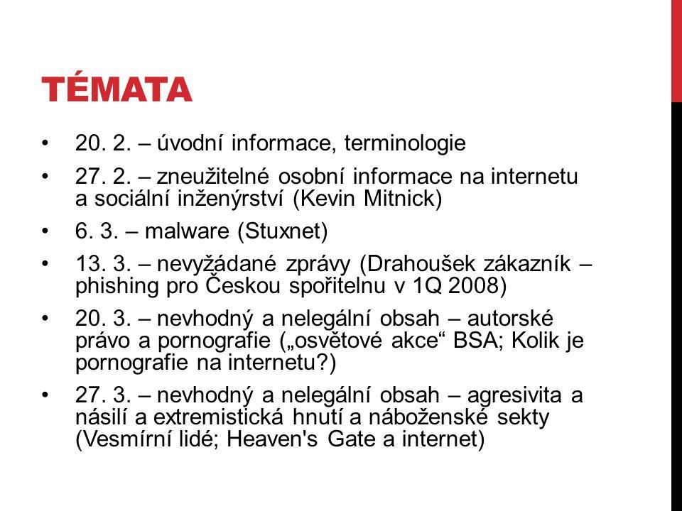 TÉMATA 20. 2. – úvodní informace, terminologie 27.
