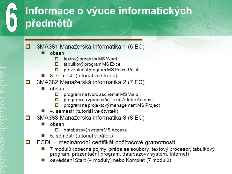 Informace o výuce informatických předmětů  3MA381 Manažerská informatika 1 (6 EC) obsah  textový procesor MS Word  tabulkový program MS Excel  prezentační program MS PowerPoint 3.