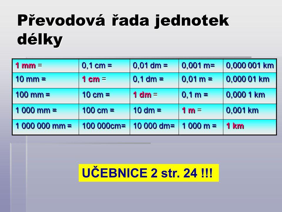 Převodová řada jednotek délky 1 mm = 0,1 cm = 0,01 dm = 0,001 m= 0,000 001 km 10 mm = 1 cm = 0,1 dm = 0,01 m = 0,000 01 km 100 mm = 10 cm = 1 dm = 0,1