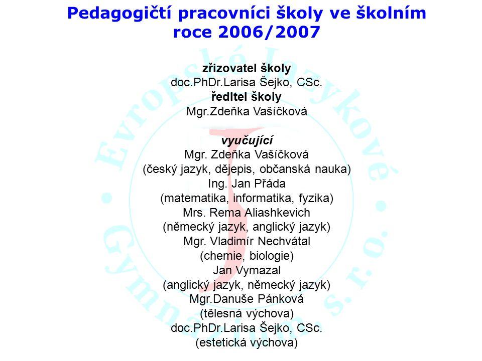 Pedagogičtí pracovníci školy ve školním roce 2006/2007 zřizovatel školy doc.PhDr.Larisa Šejko, CSc. ředitel školy Mgr.Zdeňka Vašíčková vyučující Mgr.
