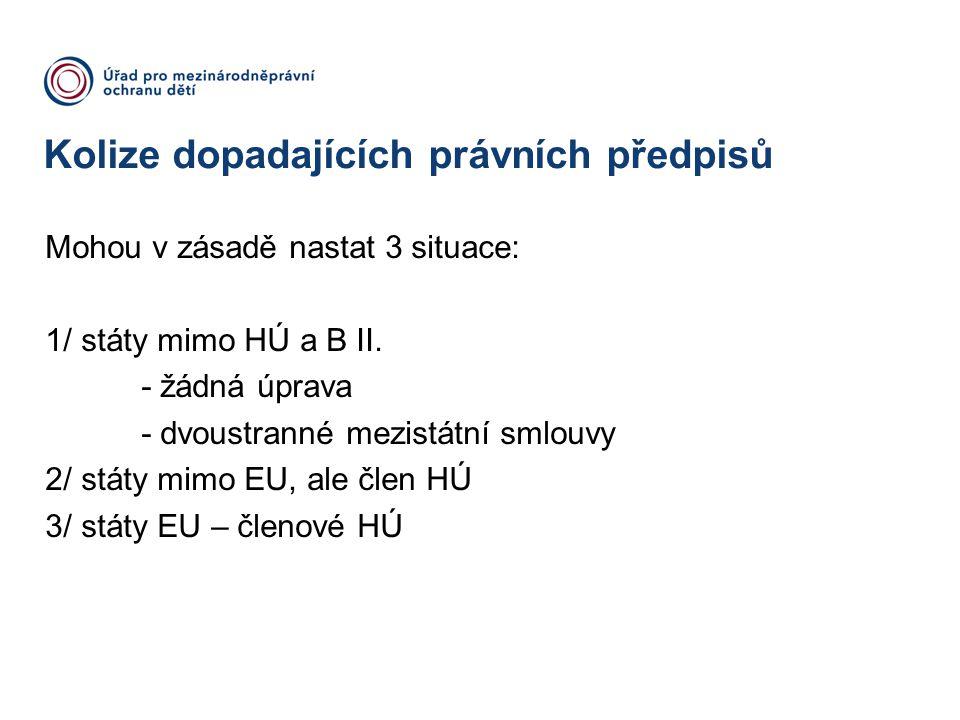 Kolize dopadajících právních předpisů Mohou v zásadě nastat 3 situace: 1/státy mimo HÚ a B II. - žádná úprava - dvoustranné mezistátní smlouvy 2/státy