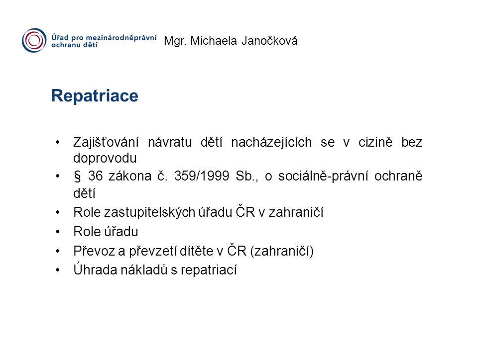 Mgr. Michaela Janočková Repatriace Zajišťování návratu dětí nacházejících se v cizině bez doprovodu § 36 zákona č. 359/1999 Sb., o sociálně-právní och