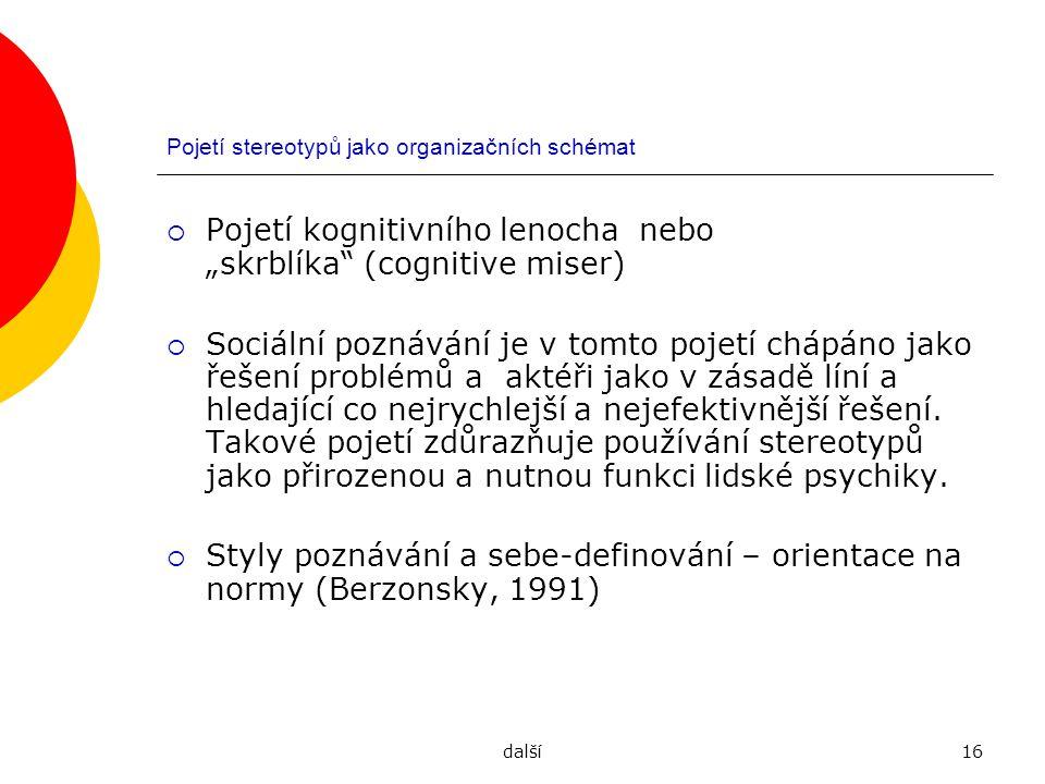 """další16 Pojetí stereotypů jako organizačních schémat  Pojetí kognitivního lenocha nebo """"skrblíka"""" (cognitive miser)  Sociální poznávání je v tomto p"""