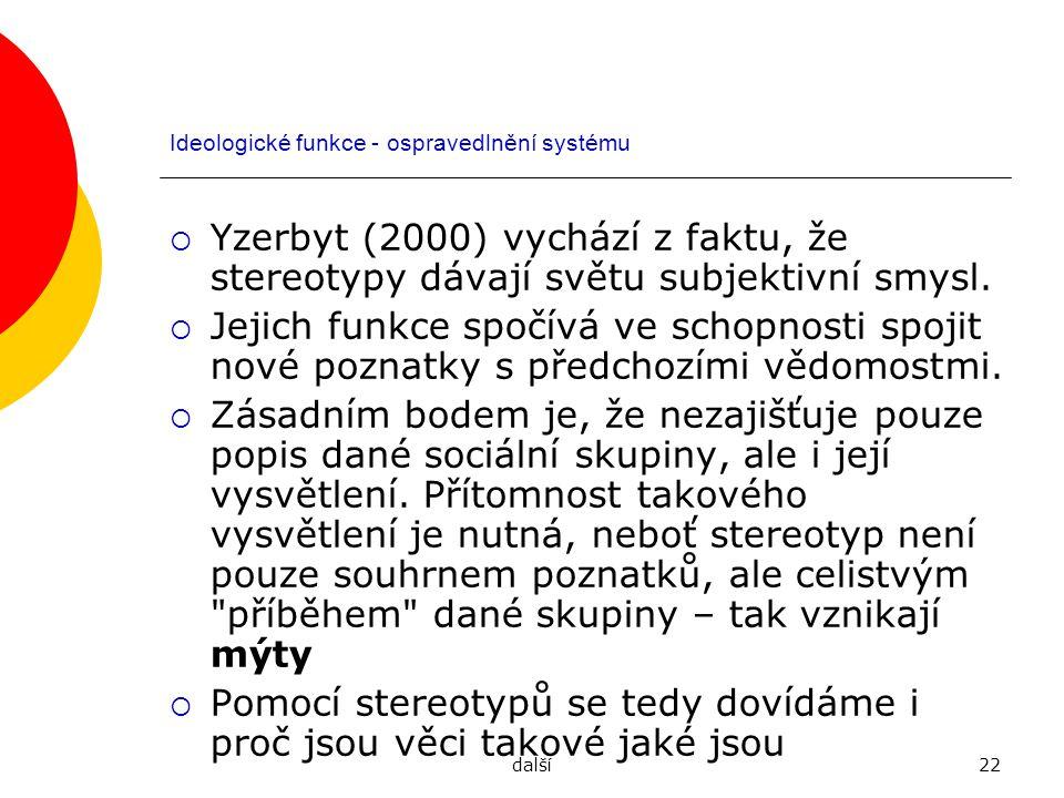 další22 Ideologické funkce - ospravedlnění systému  Yzerbyt (2000) vychází z faktu, že stereotypy dávají světu subjektivní smysl.  Jejich funkce spo