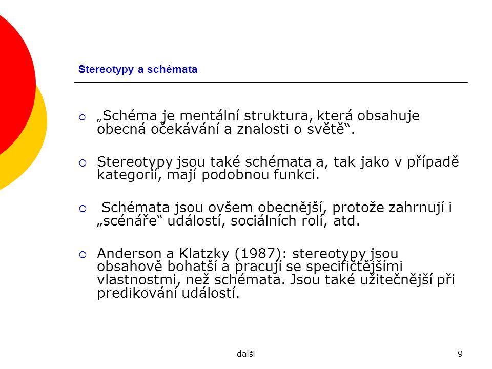 """další9 Stereotypy a schémata  """" Schéma je mentální struktura, která obsahuje obecná očekávání a znalosti o světě"""".  Stereotypy jsou také schémata a,"""