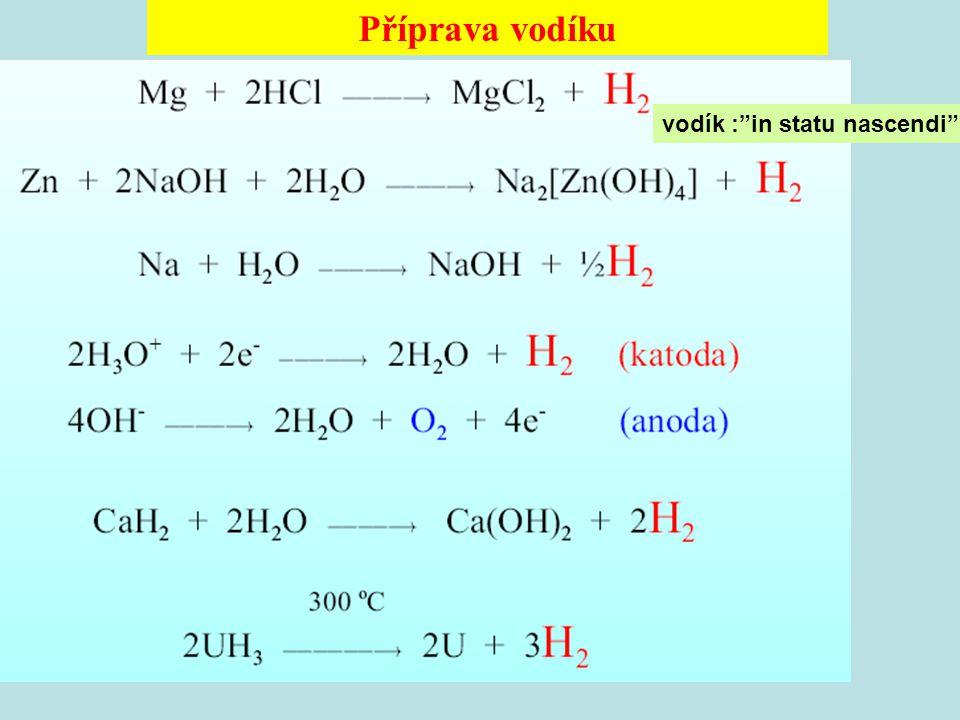 Příprava vodíku vodík : in statu nascendi