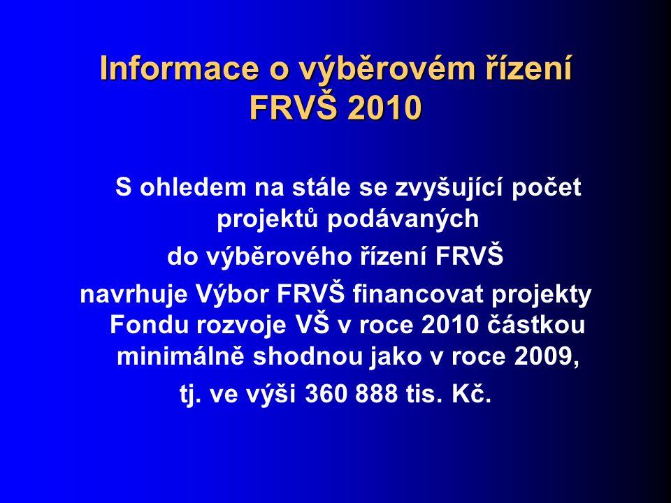 Informace o výběrovém řízení FRVŠ 2010 S ohledem na stále se zvyšující počet projektů podávaných do výběrového řízení FRVŠ navrhuje Výbor FRVŠ financovat projekty Fondu rozvoje VŠ v roce 2010 částkou minimálně shodnou jako v roce 2009, tj.