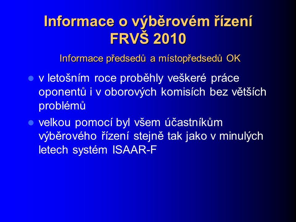 Informace o výběrovém řízení FRVŠ 2010 Informace předsedů a místopředsedů OK v letošním roce proběhly veškeré práce oponentů i v oborových komisích bez větších problémů velkou pomocí byl všem účastníkům výběrového řízení stejně tak jako v minulých letech systém ISAAR-F
