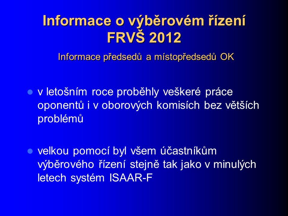 Informace o výběrovém řízení FRVŠ 2012 Informace předsedů a místopředsedů OK v letošním roce proběhly veškeré práce oponentů i v oborových komisích bez větších problémů velkou pomocí byl všem účastníkům výběrového řízení stejně tak jako v minulých letech systém ISAAR-F