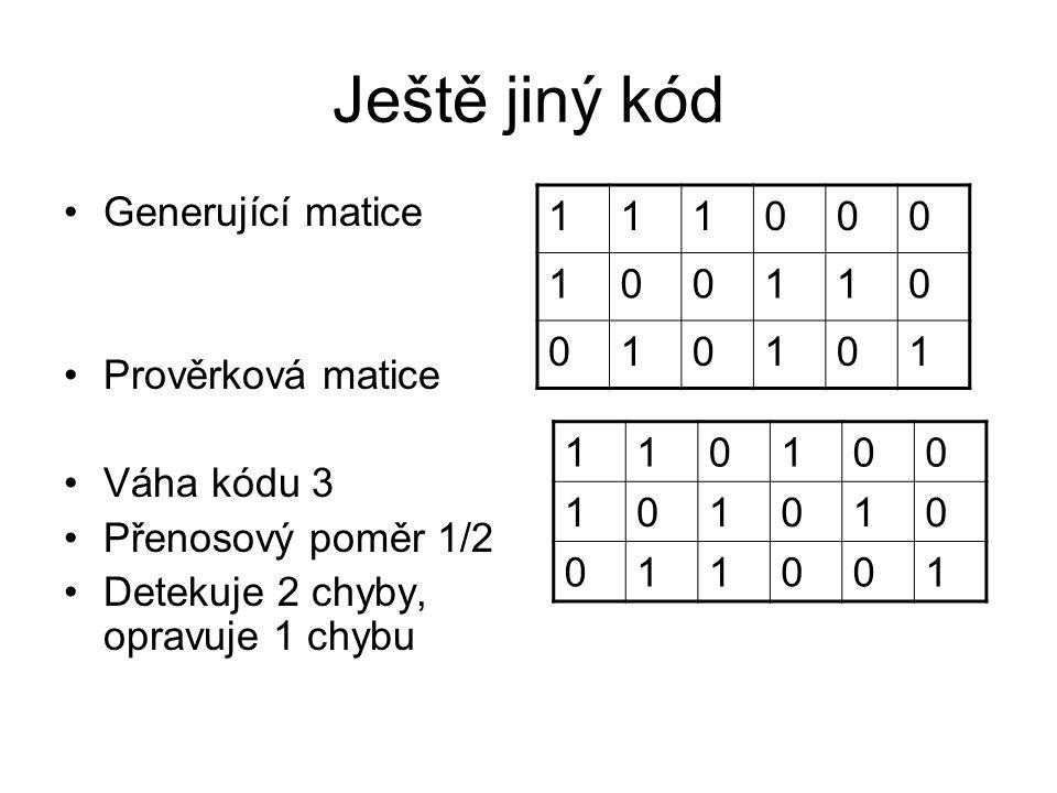 Ještě jiný kód Generující matice Prověrková matice Váha kódu 3 Přenosový poměr 1/2 Detekuje 2 chyby, opravuje 1 chybu 111000 100110 010101 110100 101010 011001