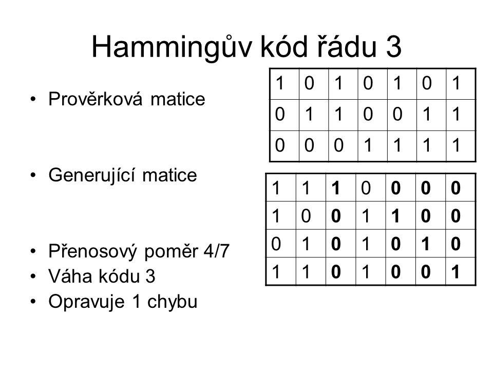 Hammingův kód řádu 3 Prověrková matice Generující matice Přenosový poměr 4/7 Váha kódu 3 Opravuje 1 chybu 1010101 0110011 0001111 1110000 1001100 0101010 1101001