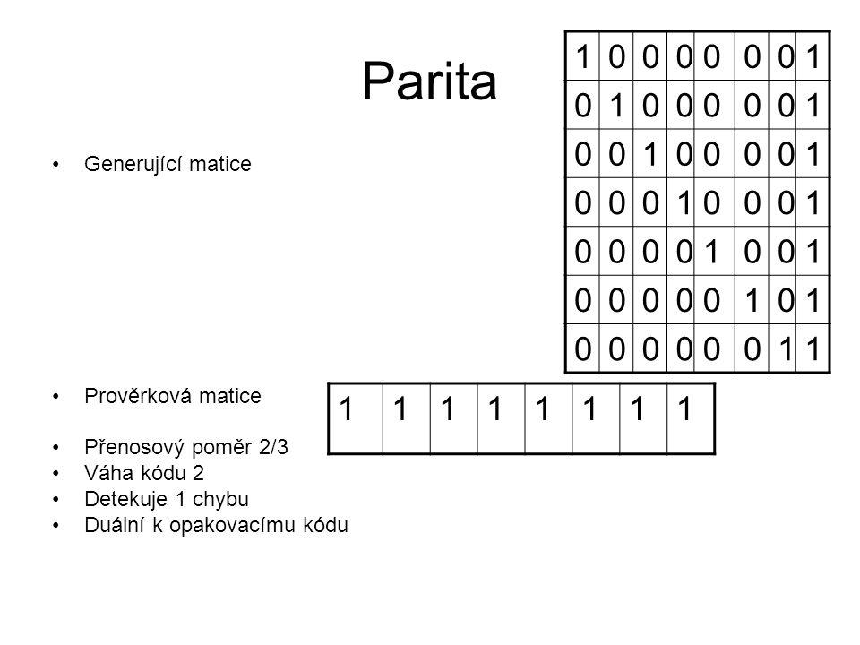Parita Generující matice Prověrková matice Přenosový poměr 2/3 Váha kódu 2 Detekuje 1 chybu Duální k opakovacímu kódu 11111111 10000001 01000001 00100001 00010001 00001001 00000101 00000011