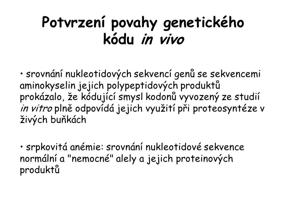 Potvrzení povahy genetického kódu in vivo srovnání nukleotidových sekvencí genů se sekvencemi aminokyselin jejich polypeptidových produktů prokázalo,