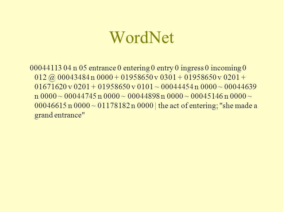 WordNet 00044113 04 n 05 entrance 0 entering 0 entry 0 ingress 0 incoming 0 012 @ 00043484 n 0000 + 01958650 v 0301 + 01958650 v 0201 + 01671620 v 020