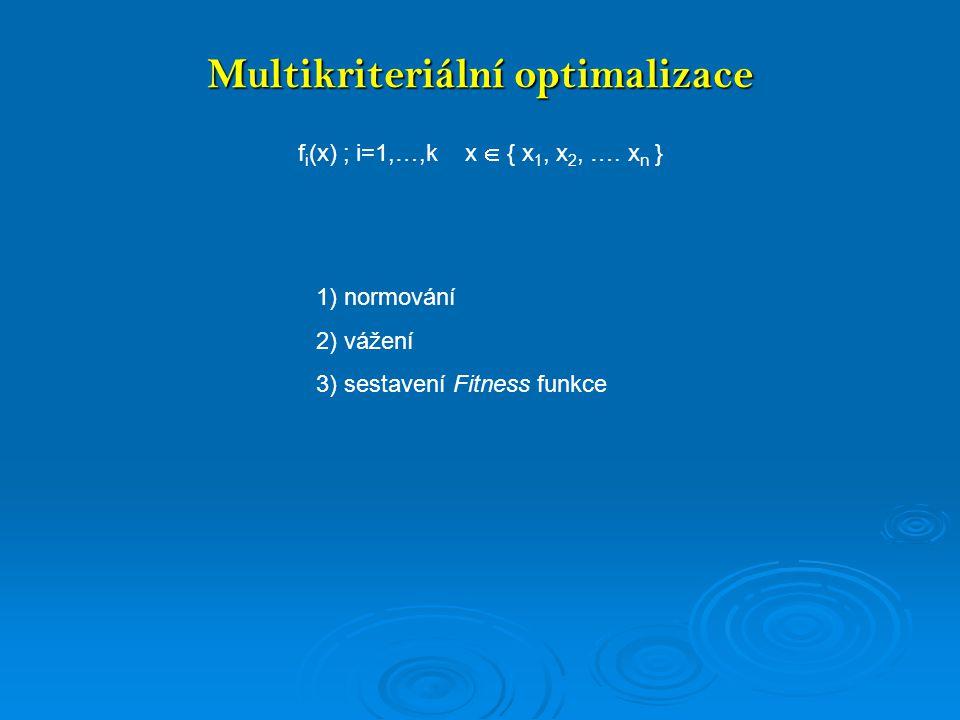 Multikriteriální optimalizace Normování, vá ž ení, sestavení Fitness funkce
