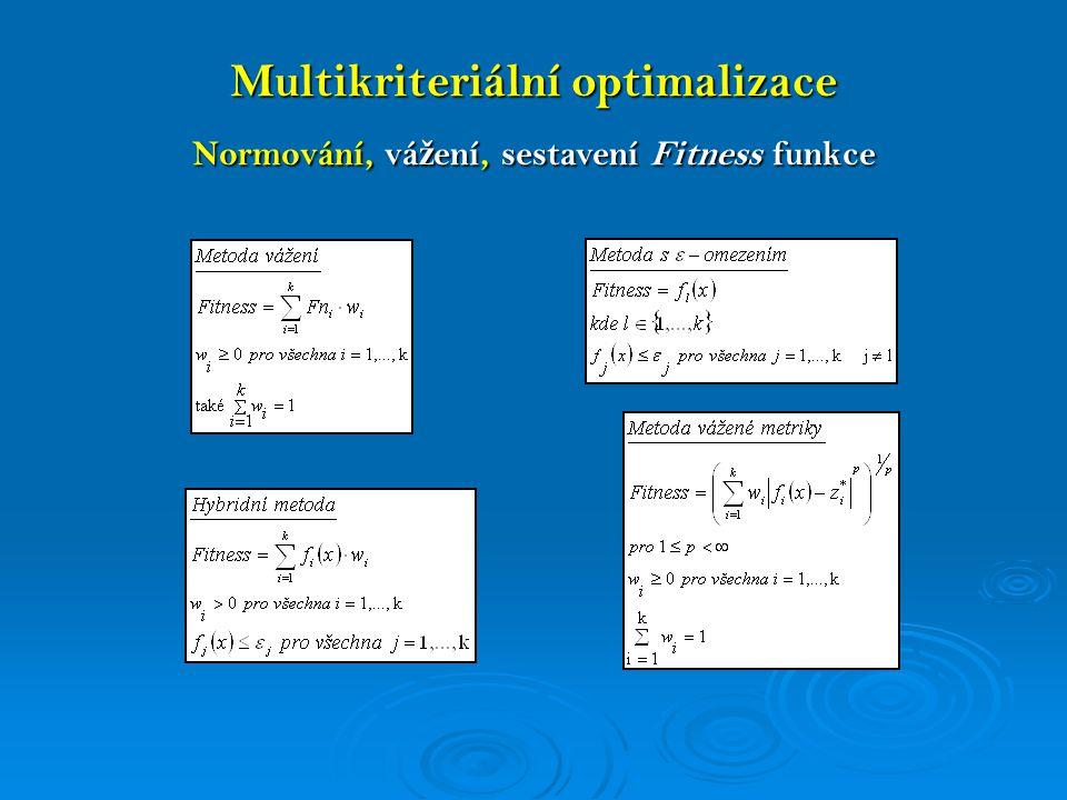 Multikriteriální optimalizace Optimalizace asynchronního stroje x 1,x 2,…,x 12 Návrhové proměnné – geometrické rozměry F 1,F 2,…,F 7 Kvalitativní parametry (účinnost,cena výrobku…) Normovací funkce 2 – 3 – 4 bodová w 1,w 2,…,w 7 váhy