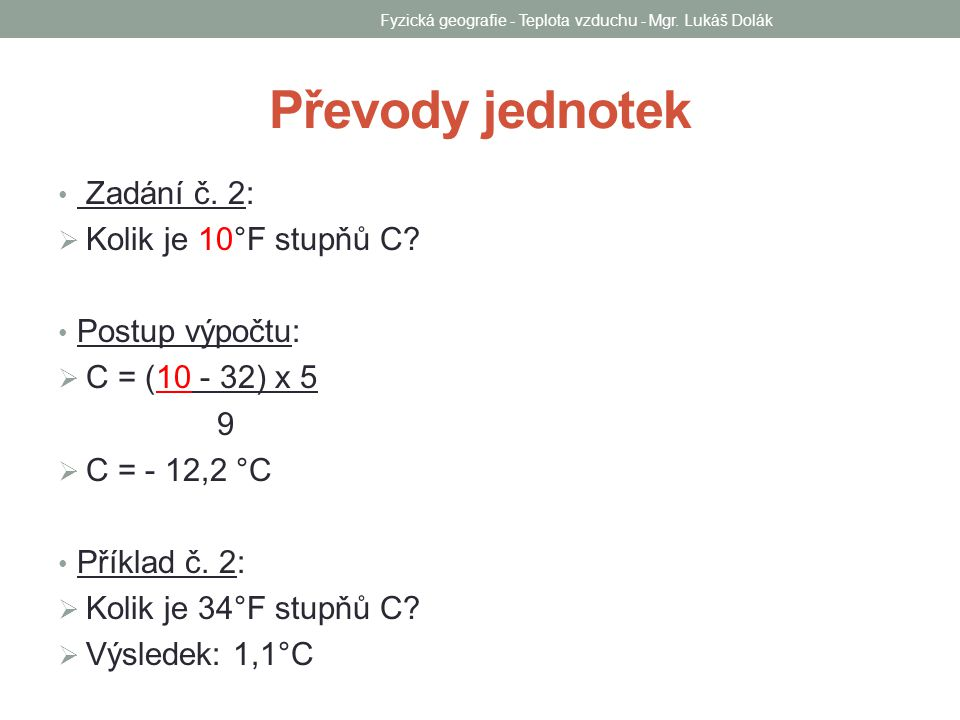 Fyzická geografie - Teplota vzduchu - Mgr.