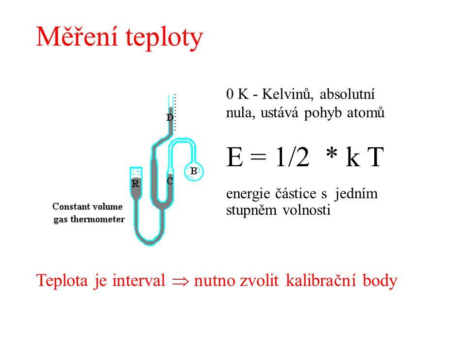 Měření teploty 0 K - Kelvinů, absolutní nula, ustává pohyb atomů E = 1/2 * k T energie částice s jedním stupněm volnosti Teplota je interval  nutno z