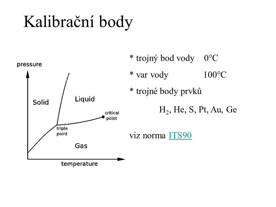 Kalibrační body * trojný bod vody 0°C * var vody 100°C * trojné body prvků H 2, He, S, Pt, Au, Ge viz norma ITS90ITS90