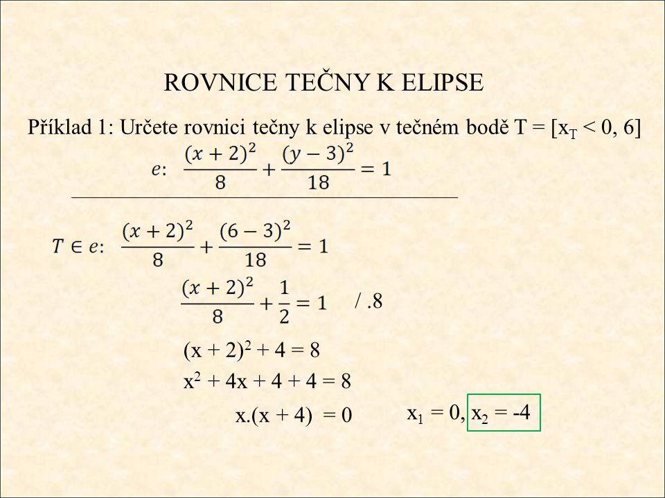 ROVNICE TEČNY K ELIPSE Příklad 1: Určete rovnici tečny k elipse v tečném bodě T = [x T < 0, 6] /.8 (x + 2) 2 + 4 = 8 x 2 + 4x + 4 + 4 = 8 x.(x + 4) = 0 x 1 = 0, x 2 = -4