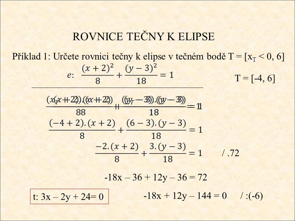 ROVNICE TEČNY K ELIPSE Příklad 1: Určete rovnici tečny k elipse v tečném bodě T = [x T < 0, 6] T = [-4, 6] /.72 -18x – 36 + 12y – 36 = 72 -18x + 12y – 144 = 0 t: 3x – 2y + 24= 0 / :(-6)