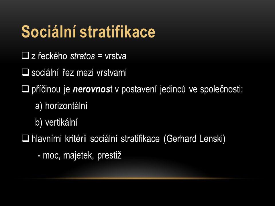 Sociální stratifikace  z řeckého stratos = vrstva  sociální řez mezi vrstvami  příčinou je nerovnos t v postavení jedinců ve společnosti: a) horizo