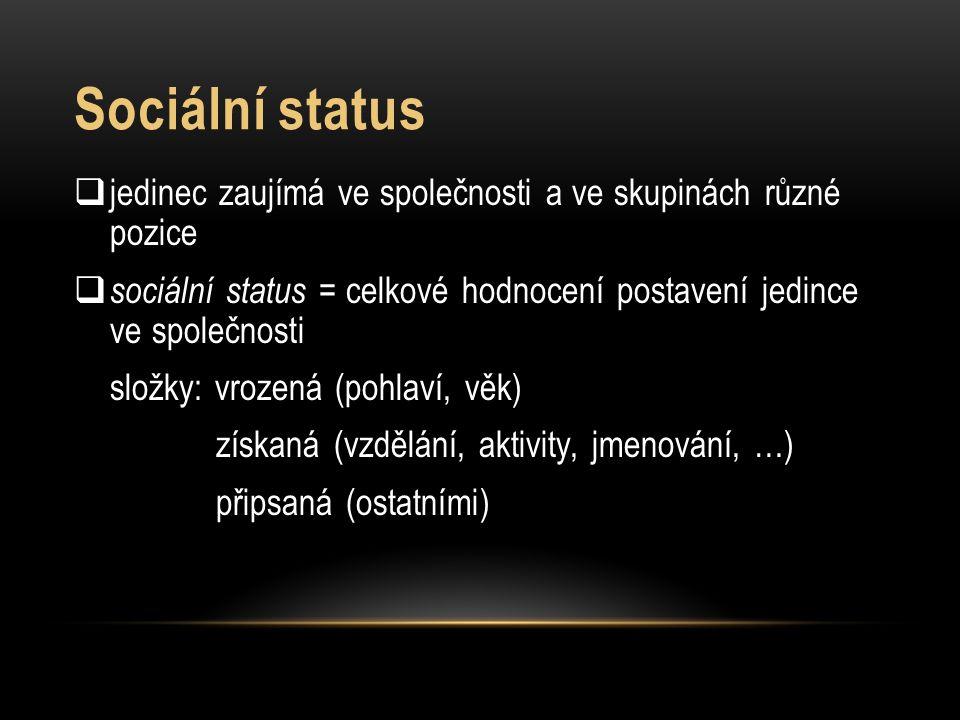 Sociální status  jedinec zaujímá ve společnosti a ve skupinách různé pozice  sociální status = celkové hodnocení postavení jedince ve společnosti sl