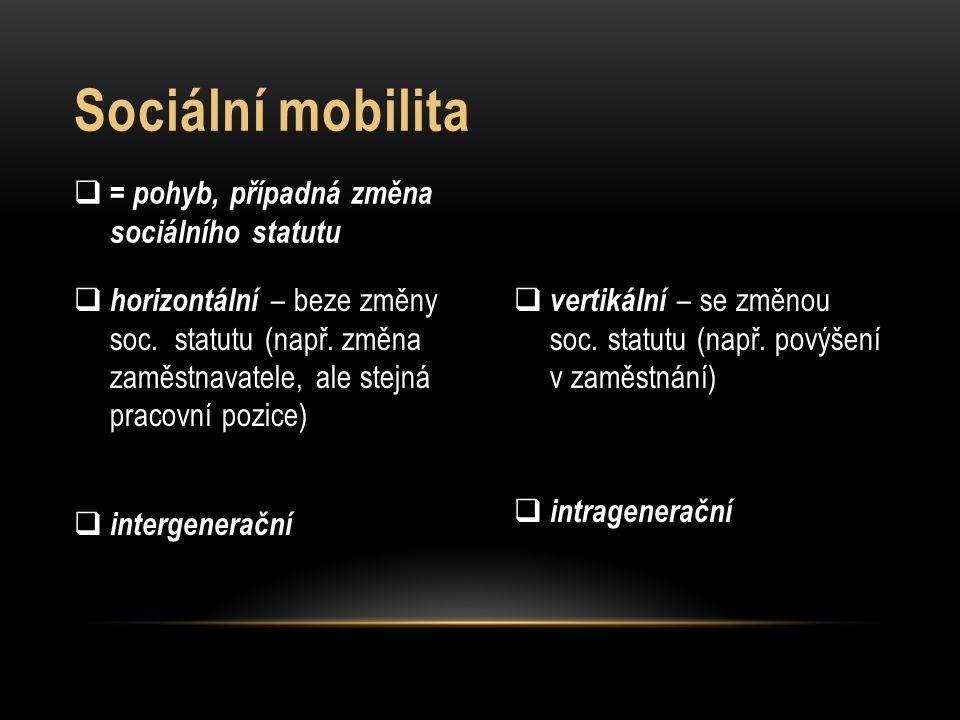  vertikální – se změnou soc. statutu (např. povýšení v zaměstnání)  intragenerační  horizontální – beze změny soc. statutu (např. změna zaměstnavat