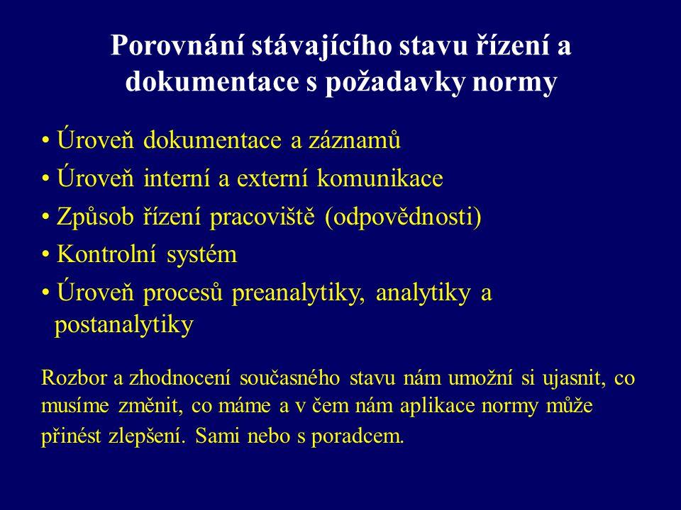 Porovnání stávajícího stavu řízení a dokumentace s požadavky normy Úroveň dokumentace a záznamů Úroveň interní a externí komunikace Způsob řízení prac